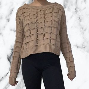 Forever 21 Brown Cropped Knit Sweater